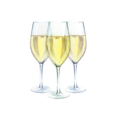 Three champagne glasses watercolor illustration, isolated on white background