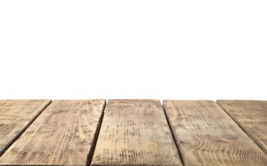 Empty wooden surface against white background. Mockup for design Wall mural