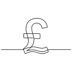 continuous line drawing of currency circulate icon. Pound sterling icon, currency symbol, investment icon, banking sign, banking cash. Billing cycle line icon for apps and websites. Vector