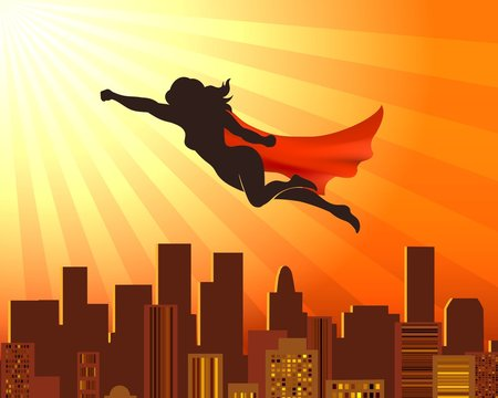 Flying girl superhero