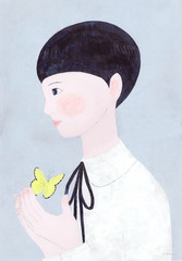 Illustration of girl standing with butterfly