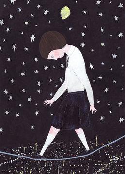 Girl walking on tightrope