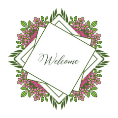 Vector illustration leaf flower frame for card writing welcome hand drawn