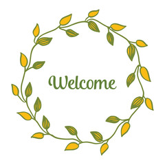 Vector illustration design floral frame with card welcome hand drawn
