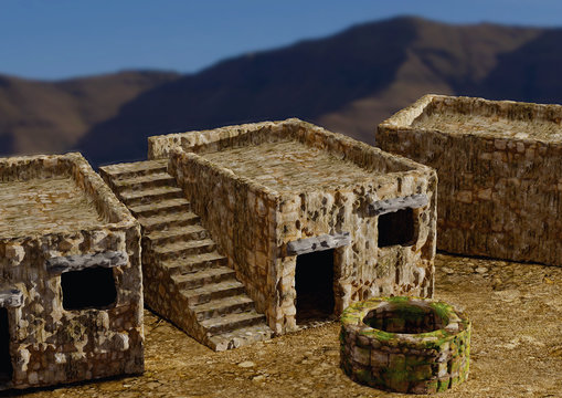 houses and villages typical of the biblical times of Israel, Jerusalem, Nazareth, Galilee, and cities of Asia Minor. 3D illustration