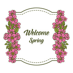 Vector illustration design pink flower frame for welcome card hand drawn