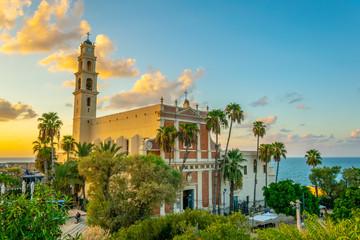 Saint Peter church viewed from HaPisgah gardens in Jaffa, Tel Aviv, Israel
