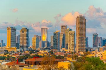 Sunset view of skyscrapers in Tel Aviv, Israel