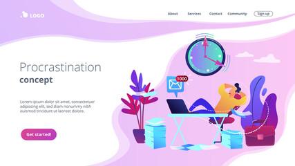 Procrastination concept landing page.