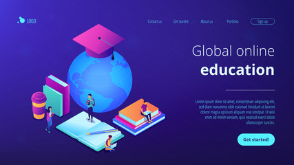 Global online education isometric 3D landing page.