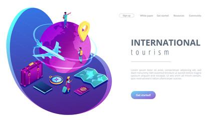 Global travelling isometric 3D landing page. Fotoväggar