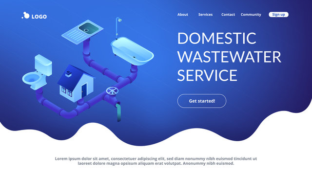 Sewerage system concept isometric 3D landing page.