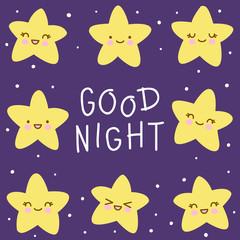 Cute background with kawaii stars 2