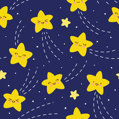 Seamless pattern with kawaii stars