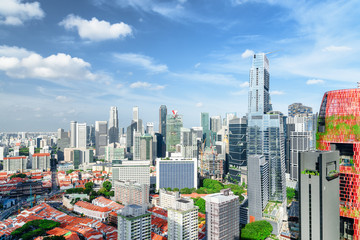Amazing view of skyscrapers in Singapore. Sunny cityscape