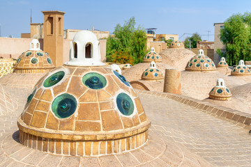 Wonderful domes with convex glasses on scenic roof, Kashan, Iran