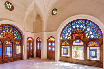 Traditional Iranian stained glass windows, Kashan, Iran