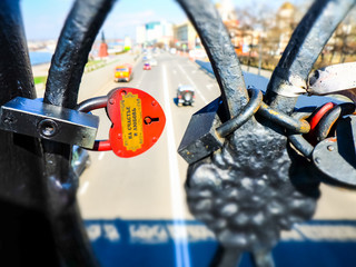 The bridge of lovers, locks with love messages.