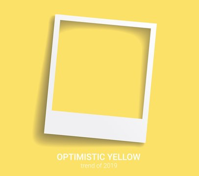 Photo frame with trendy color 2019. Optimistic yellow vector background. Polaroid style imitation