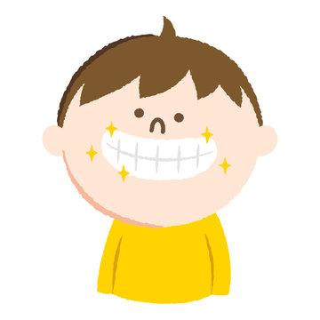 手書き風のイラスト。歯並びがキレイな男の子。