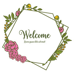 Vector illustration pink flower frame design that blooms for card welcome hand drawn