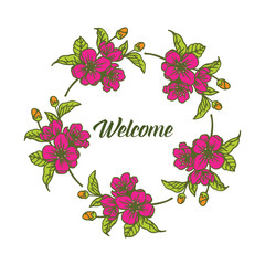 Vector illustration pink bouquet frame for welcome invitation hand drawn