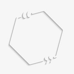 Template vector quote. Hexagon with bracket empty.