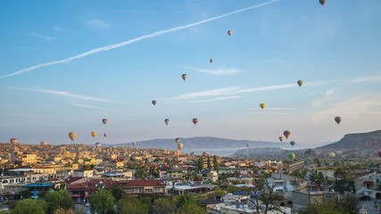 Wall Mural - Cappadocia city skyline with view of balloon flying in Goreme, Turkey