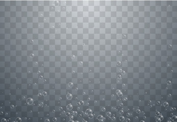 Transparent water background with realistic bubbles or drops.