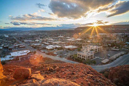 Sunrise over St. George, Utah - Morning Light Sunstar