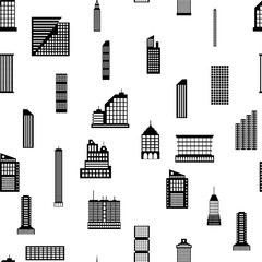 Seamless buildings megapolis pattern. Set of various city buildings. Residential and office, television tower. Vector illustration in flat style