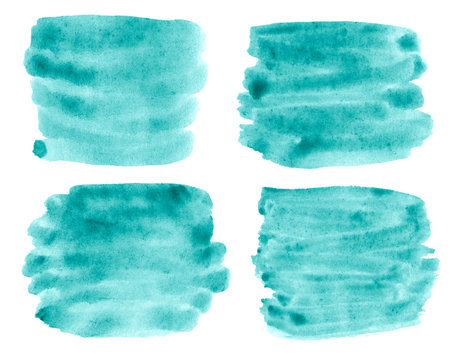 Group of 4 spots Sea azure watercolor abstract background, stain, splash paint, stain, divorce. Vintage paintings for design and decoration. With copy space for text.