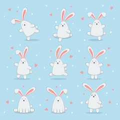 Set of Happy Easter Rabbits on Blue Background