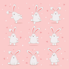 Set of Happy Easter Rabbits on Pink Background