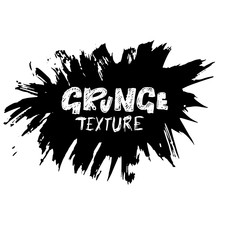 Dry brush texture banner. Black and white abstract round frame. Vector illustration.