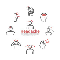 Headache banner. Line icons. Symptoms. Vector signs for web.