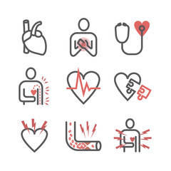 Angina pectoris line icons. Symptoms. Vector signs for web graphics.