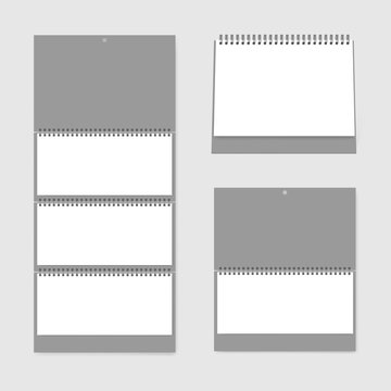 Calendar set template. Blank wall and desk spiral calendars front view, vector mockup