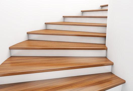 Modern spiral wooden staircase. 3d rendering