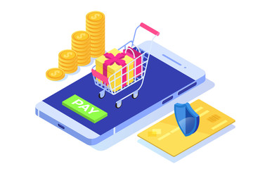 Isometric online payment online concept. Internet payments, protection