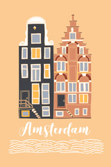 Traditional houses of Amsterdam with the inscription. Old buildings in the Netherlands with stepped gables. Vector cartoon illustration.