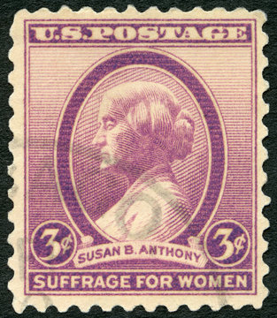 USA - 1936: shows portrait Susan Brownell Anthony (1820-1906), social reformer and rights activist