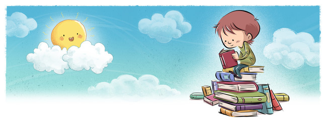 niño leyendo libros en el cielo