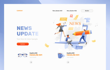 News updating. Website header template with little people characters over a big open laptop with newspaper sticking out of the screen. Vector concept of upcoming events, news, and announcements.