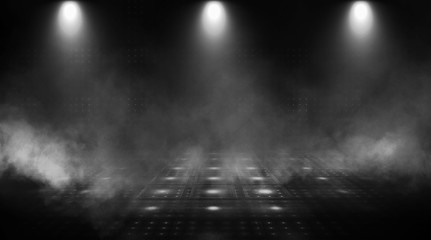 Dark empty scene, neon searchlight light, wet asphalt, smoke, night view, rays. Abstract light in the dark. Wall mural