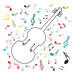 Music Background with Notes and Violin. Vector Abstract Song Cover Design.