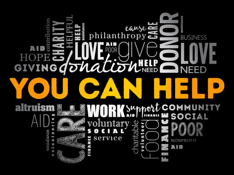 You can help word cloud collage, business concept background