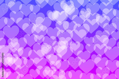 Bokeh lights with hearts gradient background template