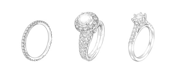 Pencil drawing of rings with precious stones on a white background. Isolated sketch. White background with hand-painted rings with diamonds. Sketch of 3 rings in one drawing. Advertising material Wall mural