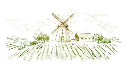 Rural dutch landscape with windmill and wheat field. Set of traditional windmill. Bakery shop, organic agricultural production, ecological food. Vector hand drawn vintage engraved sketch. - Vector